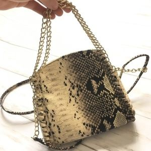 Faux Brown Snakeskin Crossbody Chain Link Bag